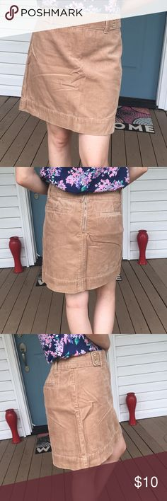 "LOFT Tan Corduroy Skirt Classic and timeless piece that can be mixed and matched with so many things in your closet!  One functional back pocket.  Waist 16 inches, length 16 1/2"". LOFT Skirts Pencil"