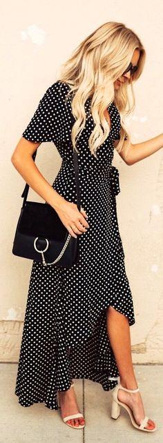#summer #outfits / polka dot maxi dress