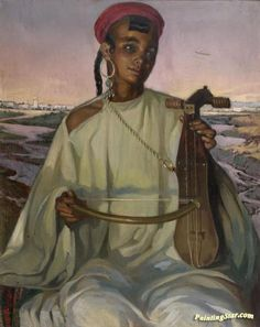 The Kamanja Player Artwork by José Cruz Herrera Hand-painted and Art Prints on canvas for sale,you can custom the size and frame