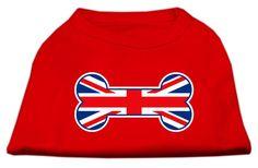 Bone Shaped United Kingdom (Union Jack) Flag Screen Print Shirts Red XXL (18)
