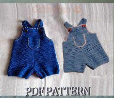crochet boy overalls   Instant Download Crochet Pattern 64 - Baby Jeans, Romper, Overalls ...