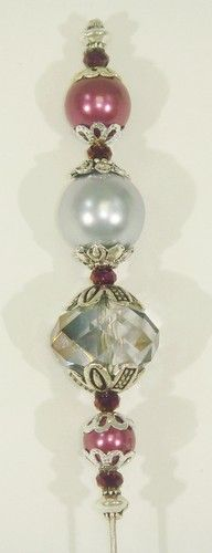 "Hat Pin 6"" Vintage + New - OOAK - Grey and Purple Glass Pearl and Crystals"
