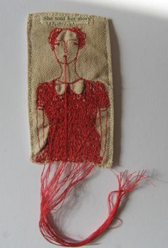 mixed media brooch - embroidery art - she told her story
