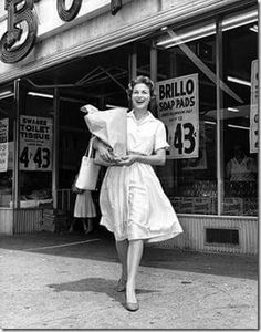 DRESSED FOR GROCERY SHOPPING IN THE 1950's This reminds me of how my Mom dressed to go shopping in warm weather. A Bohack Supermarket somewhere in NYC. (Femulate.org) Interior market shot in comments.