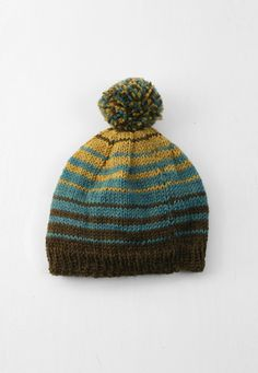 Teal and Gold Hand-knit Hat — Everything Golden