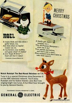 Rudolph and friends advertising for GE small appliances, 1964 free paper dolls for Christmas gifts Arielle Gabriels The International Paper Doll Board also ...