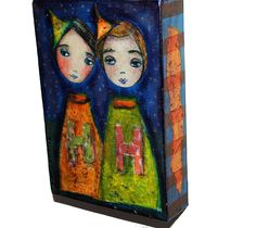 Girls Witches - Mixed Media Original Collage Painting on Canvas ( 5 x 7 inches) by FLOR LARIOS