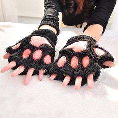 Neko Cat Paw Winter Gloves! Fingerless warm fuzzy mittens. So kawaii! 100% FREE Shipping Worldwide. No Taxes. No Shipping Fees. NADA! Tons more Kawaii, Lolita, Harajuku, Fairy-Kei, Larme, Pastel-Goth, Cosplay, Magical Girl, and Japan Fashion Goodies at www.KawaiiBabe.com