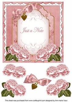 Pink Rose Just a Note Fancy 7in Decoupage Topper on Craftsuprint - Add To Basket!