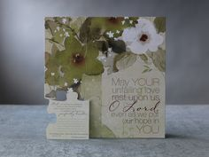 """Unfailing Love Puzzle Cards.  Message reads, May Your unfailing love rest upon us,  O Lord, even as we put our hope in You. Psalm 33:22. Each puzzle piece has a message or verse on the back with lines to write a personal message. Measures 12""""  × 12"""". Nine individual puzzle cards with nine standard kraft envelopes. Additional postage required."""
