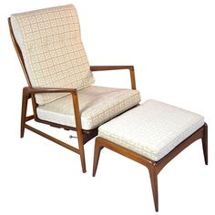 Selig Chair and Ottoman | From a unique collection of antique and modern lounge chairs at http://www.1stdibs.com/furniture/seating/lounge-chairs/
