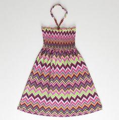 Little Girl Zig Zag Smocked Top Maxi Dress - Maxi Dresses For Girls