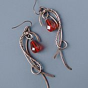 "Handmade Jewelry. Fair Masters - handmade earrings copper ""Scarlet."" Handmade."