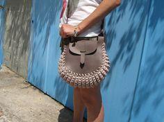 Leder Tasche / Klotho / gestrickte Tasche / Hand genäht
