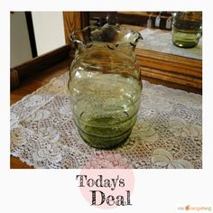 "St Patrick's Daily Deal Sale!! Today Only!! 25% OFF this item. Come back each day to see what's on Sale from now until St Patrick's Day!! HAPPY ST. PATRICK'S DAY!! Today's Product: Daily Deal Sale - Anchor Hocking Green ""Bee Hive"" Vase, Ribbed Vase, Green Glass Vase, Large Round Vase, Ruffled Rim Vase Buy now: https://www.etsy.com/listing/233444996?utm_so.."