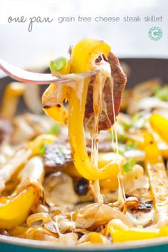 one pan grain free cheesesteak skillet- this is ooey, gooey and so delicious- and totally gluten free!