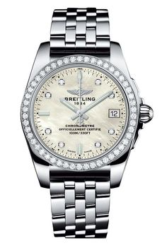 """The @breitling Galactic 36 SleekT with mother-of-pearl dial and diamond-set bezel - this ladies watch features a slim case (36 mm), is outfitted with Breitling Caliber 74, a thermocompensated """"SuperQuartz"""" movement and is water-resistant to 100 meters (330 feet). For the full story, visit: http://www.watchtime.com/wristwatch-industry-news/watches/a-tough-ladies-breitling-galactic-36-sleek-t/ #breitling #watchtime #ladieswatches #wristcandy"""