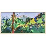 Lot 10 - * ARCHIE FORREST RGI, VINEYARD gouache on paper, signed in pencil 13cm x 27cm Mounted,