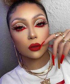 Dope Makeup, Baddie Makeup, Eye Makeup Art, Pretty Makeup, Skin Makeup, Red Makeup Looks, Eye Art, Gorgeous Makeup, Makeup Eyeshadow