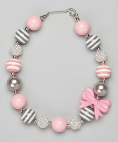 Take a look at this Pink & Gray Stripe Bow Bead Necklace by Olivia Rae on #zulily today!
