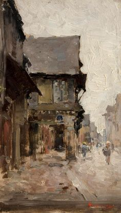 Nicolae Grigorescu, Road in Vitré oil on canvas, x 14 cm, National Museum of Art of Romania, Bucharest. Russian Painting, Art Database, Vintage Artwork, Famous Artists, Landscape Paintings, Landscapes, Abstract Paintings, New Art, Art Museum