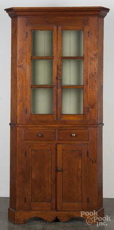 "Pennsylvania pine and poplar two-part corner cupboard, 19th c., 94-1/4"" h. x 38"" W."