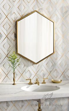 Mermaid Scales, a stone waterjet mosaic, show in polished Calacatta Gold, is part of the Semplice® collection for New Ravenna. Interior Desing, Bathroom Interior Design, New Ravenna, Calacatta Gold, Walk In Shower Designs, Stone Mosaic, Small Bathroom, Bathroom Mirrors, Gold Wallpaper In Bathroom
