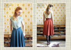 nice detail on the waistband (v in front, high in back) blue Jenny skirt & blue feather Sylvia top, rusty red Jenny skirt & tight triangle print Sylvia top
