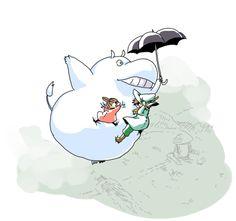 Japanese fan art with Moomin as Totoro. Les Moomins, Moomin Valley, Studio Ghibli Art, Fluffy Pillows, Tove Jansson, Animated Cartoons, Cartoon Shows, Little My, Totoro