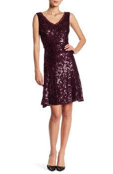Marina - Sequined Mesh Trim Dress