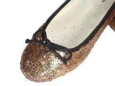 Gold Pink Glitter Ballet Flats by MadeByMandikins on Etsy, $15.00