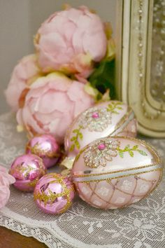 Beautiful pink ornaments.