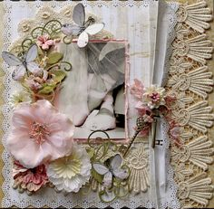 Poise Premade Scrapbook Page 12 x 12 Vintage, Shabby Chic, Wedding, Art, Layout, Prima, Dance, Ballerina