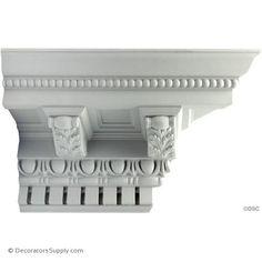 x - Repeat: - Roman Style Crown Molding Design - [Plaster Material] Plaster Cornice, Cornice Moulding, Plaster Mouldings, Panel Moulding, Crown Molding, House Front Wall Design, Plaster Material, Bed Crown, Antique Restoration