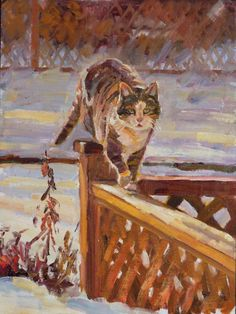 On the Fence, oil on panel, 9 x 12 in. by Janet Greco