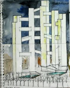 Steven Holl. World Trade Center Project, New York, NY, Perspective. 2002