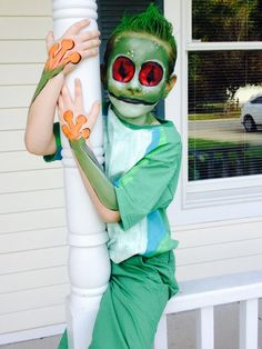 Homemade green eyed tree frog costume