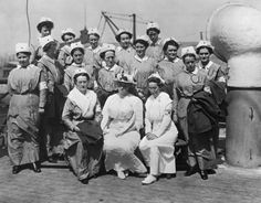 A group of nurses pictured in uniform on board the S.S. Red Cross, one of the first units of American Red Cross nurses to sail from New York for service in Europe during World War 1. The nurses shown are (top row, from left): Mary F. Bowman, Eva L. Doniat, Edwina Klee, Gertrude G. Hard and Charlotte Eaton; (middle row, from left) Alma E. Foerster, Lyda N. Anderson, Anne Hanson, Julia S. Schneider, Genevieve Dyer, Martha M. Moritz, Alica Giloborne and Mary E. Hill; (seated, from left)…