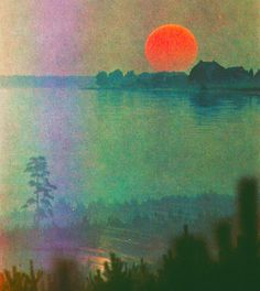 Burning Sun . Tranquil Water . Art . Watercolor Painting . Electric Orange and Turquoise with Forest Green