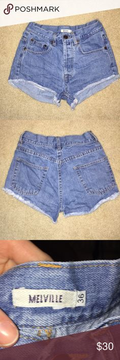 Brandy Melville Hi- Waisted Shorts Worn but good condition; and they were bought in Barcelona, Spain; I AM CONSIDERING ALL OFFERS DUE TO A CLOSE OUT ON ALL MY ITEMS!!! Brandy Melville Shorts Jean Shorts