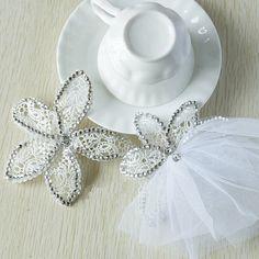 Two Pieces Lace Wedding Bridal Rhinestone Veil by PrettySquareUSA