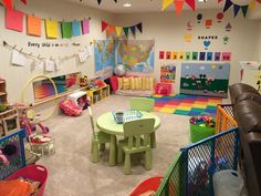 A useful playroom will always be a work in progress. This is the first in a series of posts about building our playroom. Home Daycare Rooms, Toddler Daycare Rooms, Daycare Spaces, Childcare Rooms, Kids Daycare, Daycare Crafts, Daycare Ideas, Garage Playroom, Indoor Playroom