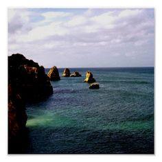 Heavenly Portugal Ocean - Teal & Azure poster  #DianeClancy