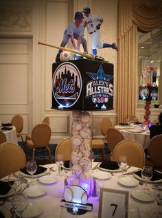 Mets Themed Baseball Centerpiece with Cutout Photos of Bar Mitzvah Boy