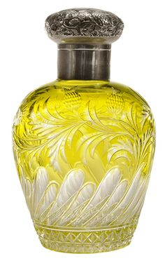 Perfume Bottle; Stevens & Williams, Cased, Flowers & Buds, Yellow over Colorless, Charles Edward Silver Stopper, 6 inch.