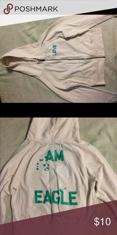 American Eagle Cream Zip Up Hoodie Zip up xs AE hoodie American Eagle Outfitters Tops Sweatshirts & Hoodies