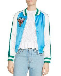 Maje Bianca Teddy Color-Blocked Bomber Jacket