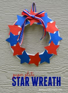 This paper plate star wreath is a fun, easy, and inexpensive patriotic craft kids can make for Memorial Day and Independence Day.