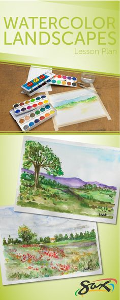 Lesson plan to try woth any similar supplies that you have and minimal instruction. Watercolor Projects, Watercolor Landscape, Watercolor Art, Painting Lessons, Art Lessons, 8th Grade Art, Middle School Art, High School, Art Lesson Plans