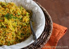 $1,000 Squash Recipe Side Dishes with spaghetti squash, zucchini, carrots, garlic, fresh thyme, fresh parsley, parmesan cheese, olive oil, butter, white pepper, kosher salt